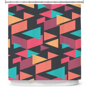 Premium Shower Curtains | Kim Hubball - Geotriangles 1 | Geometric Pattern Triangles