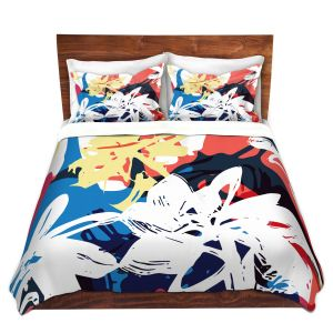Artistic Duvet Covers and Shams Bedding | Kim Hubball - Graffiti Flowers 1 | abstract flowers contemporary