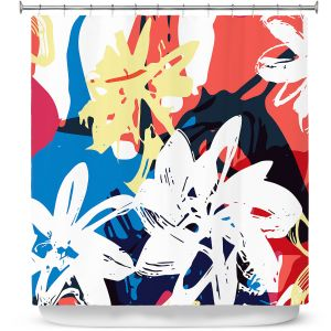 Premium Shower Curtains | Kim Hubball - Graffiti Flowers 1 | abstract flowers contemporary
