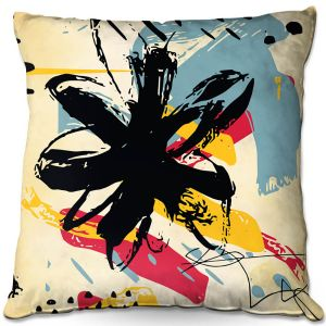 Throw Pillows Decorative Artistic   Kim Hubball - Graffiti Flowers 2   abstract flowers contemporary
