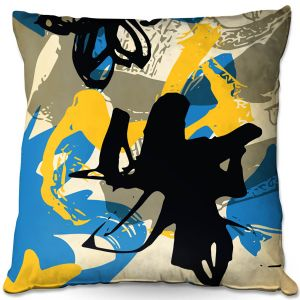 Decorative Outdoor Patio Pillow Cushion | Kim Hubball - Graffiti Flowers 3 | abstract flowers contemporary