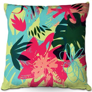 Decorative Outdoor Patio Pillow Cushion | Kim Hubball - Graffiti Flowers 5 | abstract flowers contemporary