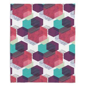 Decorative Fleece Throw Blankets | Kim Hubball - Hexgeo 1 | Geometric Pattern Hexagon