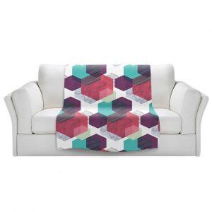 Artistic Sherpa Pile Blankets   Kim Hubball - Hexgeo 1   Geometric Pattern Hexagon