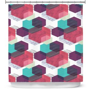 Premium Shower Curtains | Kim Hubball - Hexgeo 1 | Geometric Pattern Hexagon
