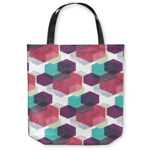 Unique Shoulder Bag Tote Bags | Kim Hubball - Hexgeo 1 | Geometric Pattern Hexagon