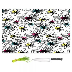 Artistic Kitchen Bar Cutting Boards | Kim Hubball - Ink Flower Pattern 1 | Floral
