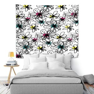 Artistic Wall Tapestry   Kim Hubball - Ink Flower Pattern 1   Floral