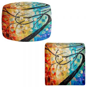 Round and Square Ottoman Foot Stools | Lam Fuk Tim - Abstract Tree
