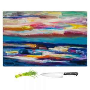 Artistic Kitchen Bar Cutting Boards | Lam Fuk Tim - Before Sunrise 1 | abstract painterly brushstrokes