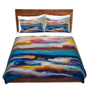 Artistic Duvet Covers and Shams Bedding | Lam Fuk Tim - Before Sunrise 1 | abstract painterly brushstrokes