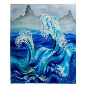 Decorative Fleece Throw Blankets | Lam Fuk Tim - Blue Waves Mountains