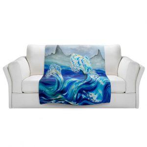 Artistic Sherpa Pile Blankets | Lam Fuk Tim - Blue Waves Mountains