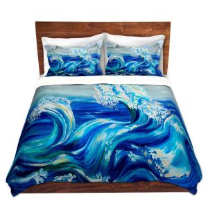 Artistic Duvet Covers and Shams Bedding | Lam Fuk Tim - Blue Waves Mountains