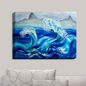 Decorative Canvas Wall Art | Lam Fuk Tim - Blue Waves Mountains | Water Waves Nature