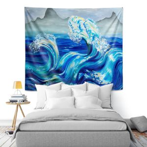 Artistic Wall Tapestry | Lam Fuk Tim - Blue Waves Mountains