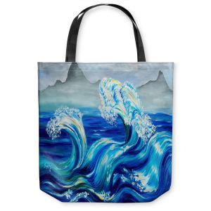 Unique Shoulder Bag Tote Bags |Lam Fuk Tim - Blue Waves Mountains