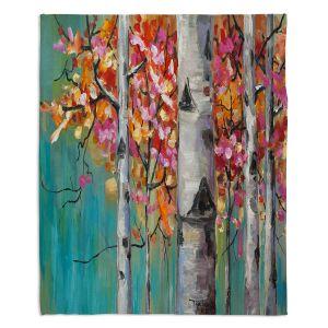 Decorative Fleece Throw Blankets | Lam Fuk Tim - Color Birch Tree 1 | nature landscape