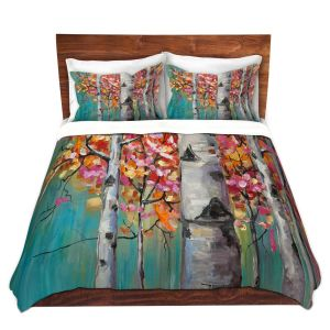 Artistic Duvet Covers and Shams Bedding | Lam Fuk Tim - Color Birch Tree 1 | nature landscape