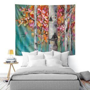 Artistic Wall Tapestry   Lam Fuk Tim - Color Birch Tree 1   nature landscape