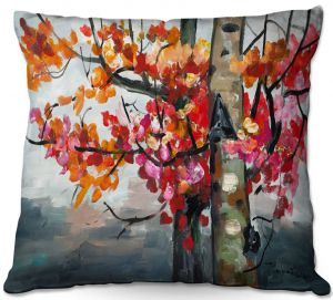 Decorative Outdoor Patio Pillow Cushion   Lam Fuk Tim - Color Birch Tree 2   nature landscape