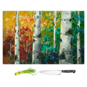 Artistic Kitchen Bar Cutting Boards | Lam Fuk Tim - Color Birch Tree 3 | nature landscape