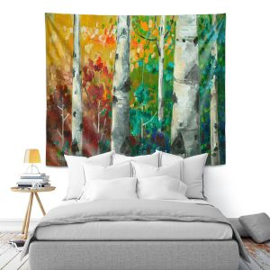 Artistic Wall Tapestry   Lam Fuk Tim - Color Birch Tree 3   nature landscape