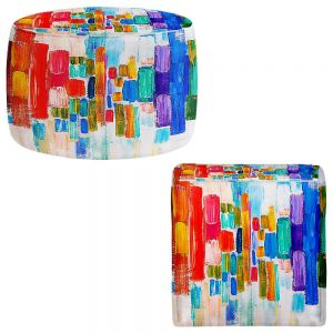 Round and Square Ottoman Foot Stools | Lam Fuk Tim - Color Blocks