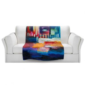 Artistic Sherpa Pile Blankets   Lam Fuk Tim - Color City 1   cityscape abstract brushstrokes
