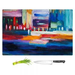Artistic Kitchen Bar Cutting Boards | Lam Fuk Tim - Color City 1 | cityscape abstract brushstrokes