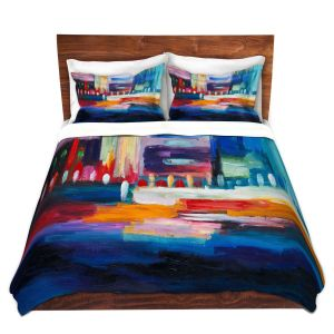 Artistic Duvet Covers and Shams Bedding | Lam Fuk Tim - Color City 1 | cityscape abstract brushstrokes
