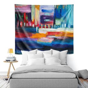 Artistic Wall Tapestry | Lam Fuk Tim - Color City 1 | cityscape abstract brushstrokes