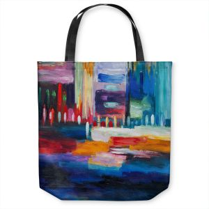 Unique Shoulder Bag Tote Bags | Lam Fuk Tim - Color City 1 | cityscape abstract brushstrokes