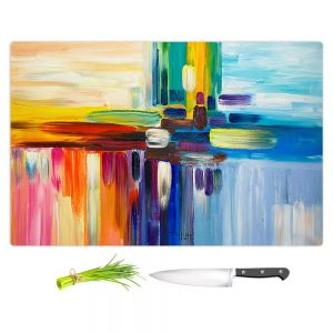 Artistic Kitchen Bar Cutting Boards | Lam Fuk Tim - Colorful Stripes Rainbow l
