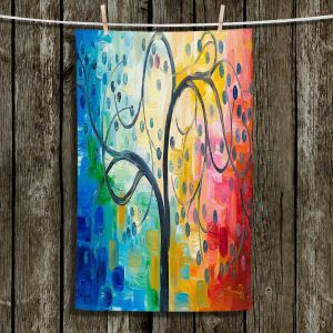Unique Hanging Tea Towels | Lam Fuk Tim - Colorful Tree ll | Whimsical Trees Colorful