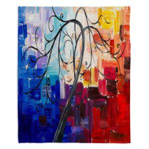 Decorative Fleece Throw Blankets | Lam Fuk Tim - Colorful Tree Vll