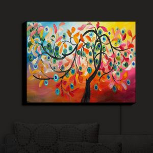 Nightlight Sconce Canvas Light | Lam Fuk Tim - Color Tree VIII | Whimsical Trees Colorful
