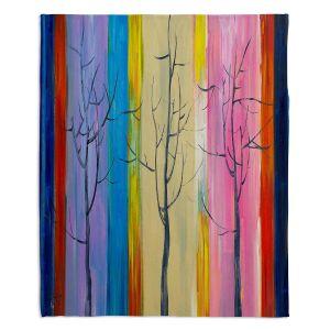 Decorative Fleece Throw Blankets | Lam Fuk Tim - Colorful Trees l
