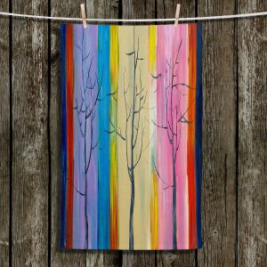 Unique Hanging Tea Towels | Lam Fuk Tim - Colorful Trees l | Nature Rainbow Colors Trees
