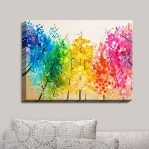 Decorative Canvas Wall Art | Lam Fuk Tim - Colorful Trees II | Nature Rainbow Colors Trees