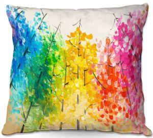 Unique Throw Pillows from DiaNoche Designs by Lam Fuk Tim - Colorful Trees ll   16X16