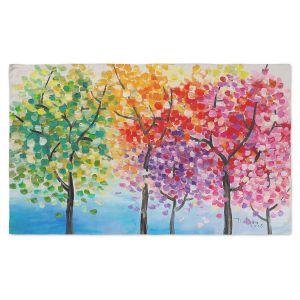 Artistic Pashmina Scarf | Lam Fuk Tim - Colorful Trees III | Nature Rainbow Colors Trees