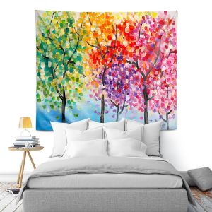 Unique Wall Tapestry 51X60 from DiaNoche Designs by Lam Fuk Tim - Colorful Trees III