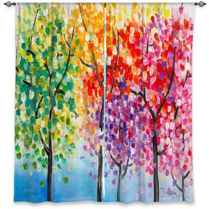 Unique Window Curtains Unlined 40w x 61h from DiaNoche Designs by Lam Fuk Tim - Colorful Trees lll