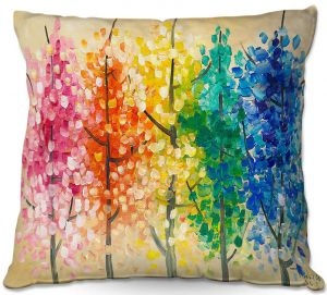 Unique Outdoor Pillow 16X16 from DiaNoche Designs by Lam Fuk Tim - Colorful Trees VI