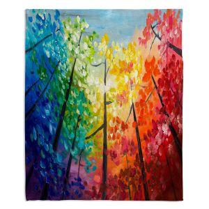 Decorative Fleece Throw Blankets | Lam Fuk Tim - Colorful Trees VI