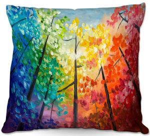 Decorative Outdoor Patio Pillow Cushion   Lam Fuk Tim - Colorful Trees VI