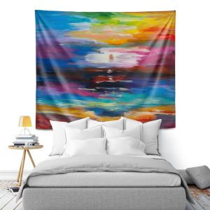 Artistic Wall Tapestry | Lam Fuk Tim - Moonscape Rainbow 1 | landscape abstract