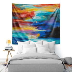 Artistic Wall Tapestry | Lam Fuk Tim - Moonscape 2 | landscape abstract