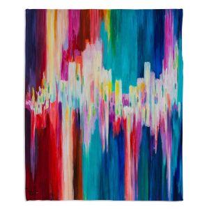 Artistic Sherpa Pile Blankets   Lam Fuk Tim - Rainbow EQ 1   abstract pattern lines